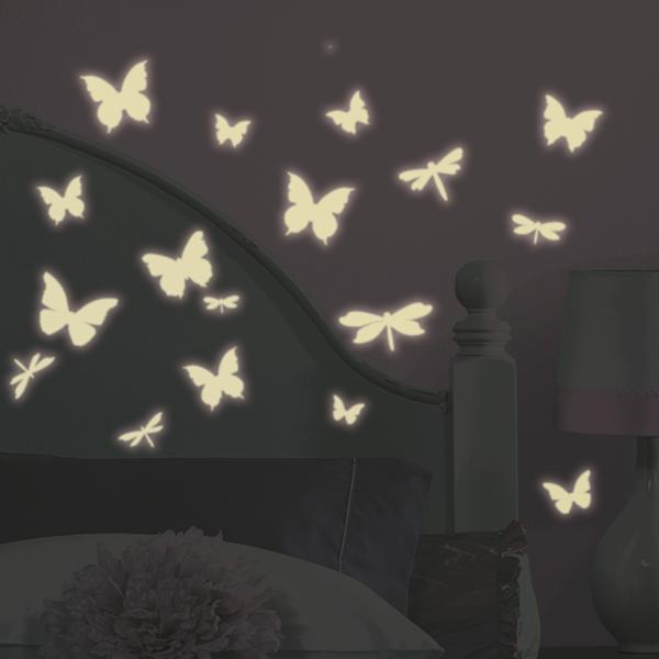 Roommates leuchtende schmetterlinge wandtattoo wandsticker wandaufkleber wandbilder - Leuchtende wandtattoos ...