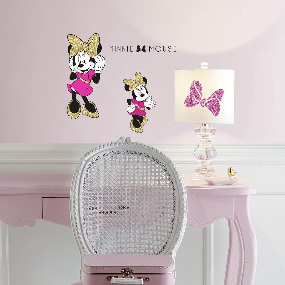 RoomMates - DISNEY Minnie Maus mit Glitzer - Wandsticker Wandtattoo  Aufkleber